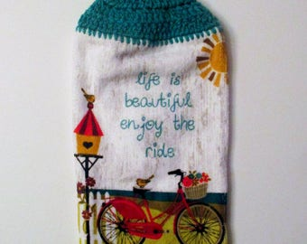 Inspirational Crochet Top Hanging Kitchen Towel with Decorative Bottom Trim