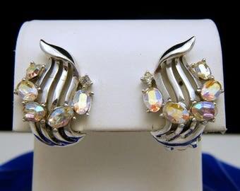 Vintage Crown Trifari Glowing AB Rhinestone Earrings Silver Tone Clip Ons
