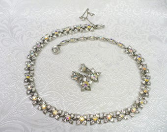 RESERVED For ROBIN - Vintage Authentic Signed BOGOFF Rhinestone and Ab Rhinestone Necklace and Earring Set - silver tone  - hook closure