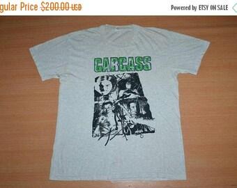 ON SALE 20% Vintage early 90s CARCASS Necroticism Descanting the Insalubrious Tour Concert Napalm Death promo L Size rare T-shirt