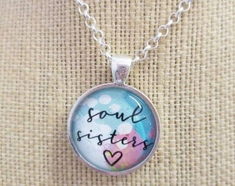 Soul Sisters...Painted Quote Necklaces, Inspirational Charms Jewelry , Choose Joy, Yoga Inspired, Be Positive, My Tribe