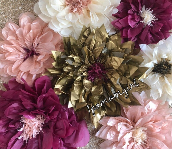 Vintage blush 10 giant paper flowers wedding decorations back il570xn mightylinksfo