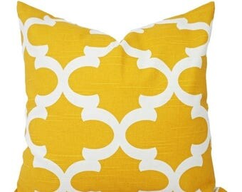 15% OFF SALE Two Yellow Decorative Pillows - Two Yellow Throw Pillow Covers - Yellow Pillow Covers - Yellow Quatrefoil Pillow Cover - Yellow