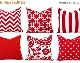 15% OFF SALE Red Pillow Covers - Decorative Throw Pillow Cover - Red Couch Pillows - Red Pillow Sham - Red Euro Sham - Red Throw Pillow - Ho