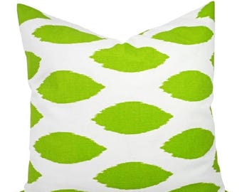 15% OFF SALE Two Green Throw Pillows - Two Green and White Ikat Pillow Cover - Ikat Couch Pillow - Green Accent Pillow - Ikat Pillow Cover -