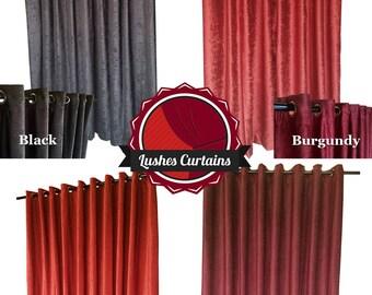 12 ft high fire treated polyester velvet curtain long panel wgrommet eyelet top commercial - Velvet Curtain