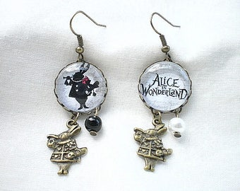 """Alice in Wonderland of"" rabbit earings"