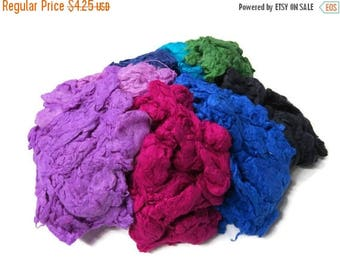 SALE Hand Dyed Silk Noil Mix,(cold colors)