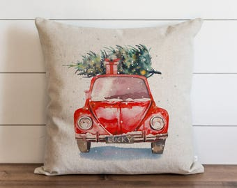 Watercolor Christmas Car 20 x 20 Pillow Cover // Christmas // Holiday // Throw Pillow // Gift  // Accent Pillow