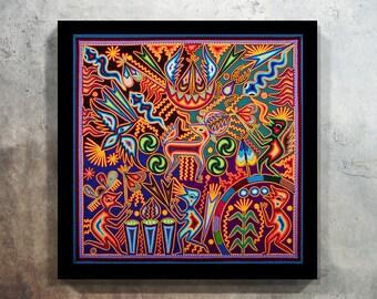 Huichol Print D60003, Mexican Print, Huichol Painting, Mexican Digital Art, Digital Art,  Printable Wall Art, Mexican Art, Huichol Art