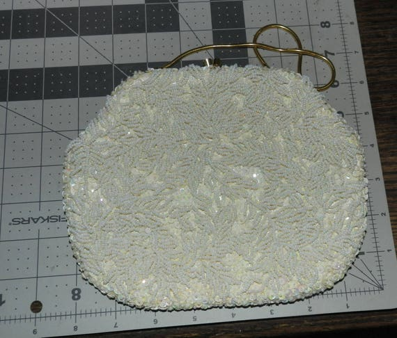 Vintage Ivory Evening Clutch Handbag Fully Beaded and Sequined Antique 1950s 1960s Retro Handmade in Hong Kong Formal Evening Bag