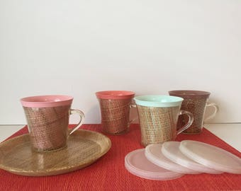 Vintage Raffiaware Mugs, Melmac Coffee Cups & Tray, Burlap Mugs with Lids, Travel Trailer, Vintage Camping, Straw Cups, Calfite Tote Tray
