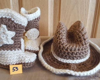 Crochet Cowboy Hat and Boot (newborn to 6 months)