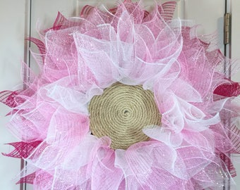 Pink Flower Wreath For Your Front Door