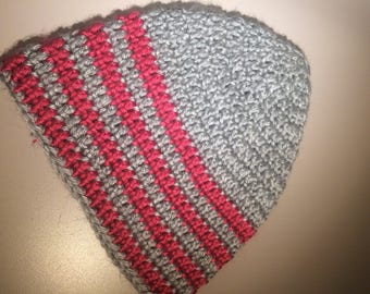Gray and Pink Crochet woman/girls beanie hat