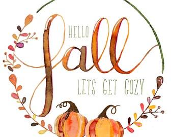 Hello Fall Watercolor Artwork