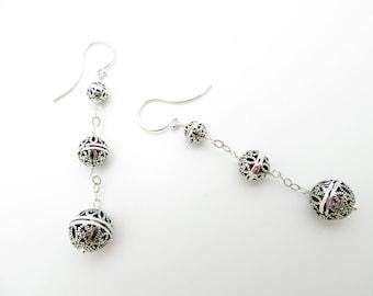Handmade Sterling Silver Ball Drop Earrings