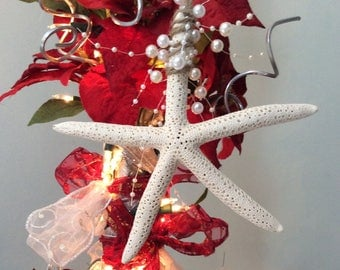 Beach tree ornaments, nautical Christmas decor, beach house Christmas tree, starfish ornament, seashell Christmas tree, beach house decor
