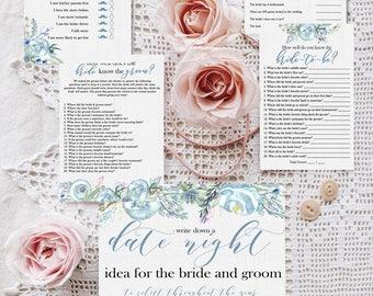 Dusty Blue Bridal Shower Games, DIY Bridal Shower, Sky Blue Bridal Shower, Printable Games, Slate Blue Bridal Shower, Bridal Shower Games