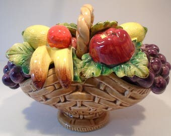 Ceramic Bowl of Fruit in a Weaved Basket 22/342
