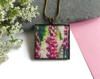 Bronze Square Foxglove Pendant Necklace, Flower jewelry, Handmade Jewelry, Original Photography, Photo Jewellery, Pink Flower, Gift For Her