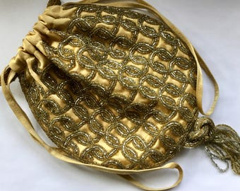 1950s Purse Evening Bag / Hand Beaded Evening Bag Purse / Walborg Beaded Purse
