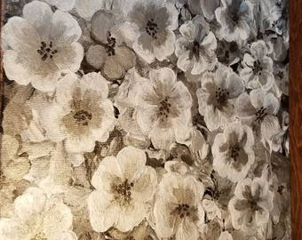 Silver, black and white contemporary floral painting by Pamela Henry home or office wall decor shimmery silvers