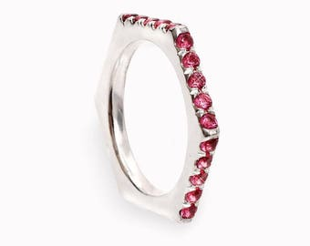 14K White Gold, Wedding Band Ring, Ring Has 6 Sides, 3 of them are pave setting. With 15 Ruby Round  2MM, Wedding Ring Band.
