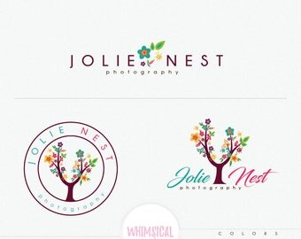 Flower tree logo 2 -Premade, Photography Logo, Watermark florist, Classic Elegant Script Font, full ,colorful, children photography branding