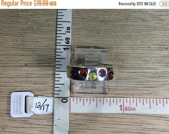 10% OFF 3 day sale Vintage 925 Sterling Silver 6.6g Ring Size 8 Garnet Peridot Amethyst Used