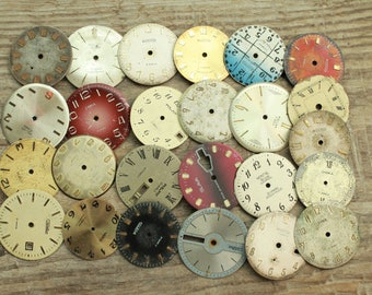 """1-1.2 """"  vintage watch faces  set of 25  watch faces USSR   watches dials circle dials  Old Vintage watch parts  steampunk supplies"""