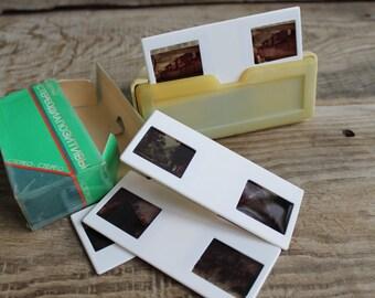 vintage stereoscope / Soviet stereoscope / portable slide viewer / slide projector /  include set of slides with landscapes