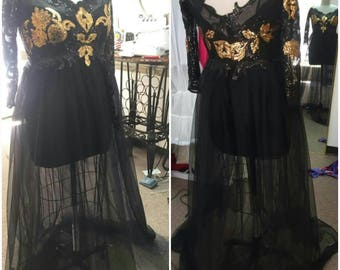 Black and Gold  Tulle Lace Off Shoulder dress