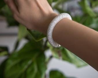 White Bead Crochet Bangle