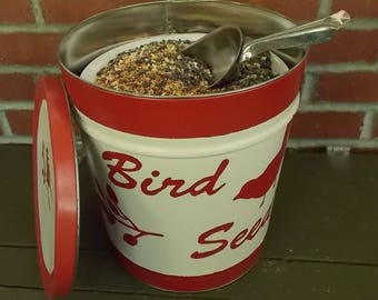 Storage Container Hand Painted Upcycled Popcorn Tin Bird Seed Covered Storage Container
