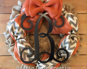 Front Door Wreath / Burlap Wreath / Initial Wreath / Front Door Letter Wreath / Fall Burlap Wreath / Halloween Wreath