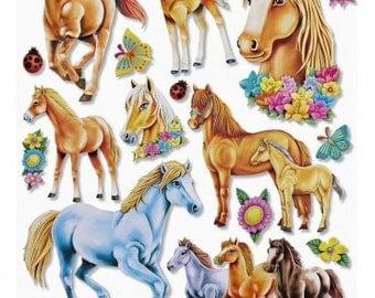 XXL stickers, horses, 3D, 1 sheet  (251)