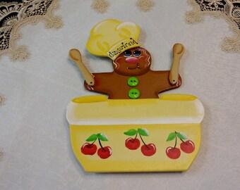 Gingerbread Baker Magnet, Large Magnet, Gingerbread Decor, Baker Decor, Kitchen Decor, Kitchen Magnet