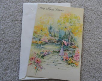 Many Happy Returns - Unused Birthday Card - Free shipping