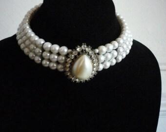 Vintage 3 Strand Faux White Pearl Rhinestone Silver Tone Choker Necklace Wedding Bridal
