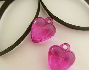 Pink set of 2 heart shaped plastic beads