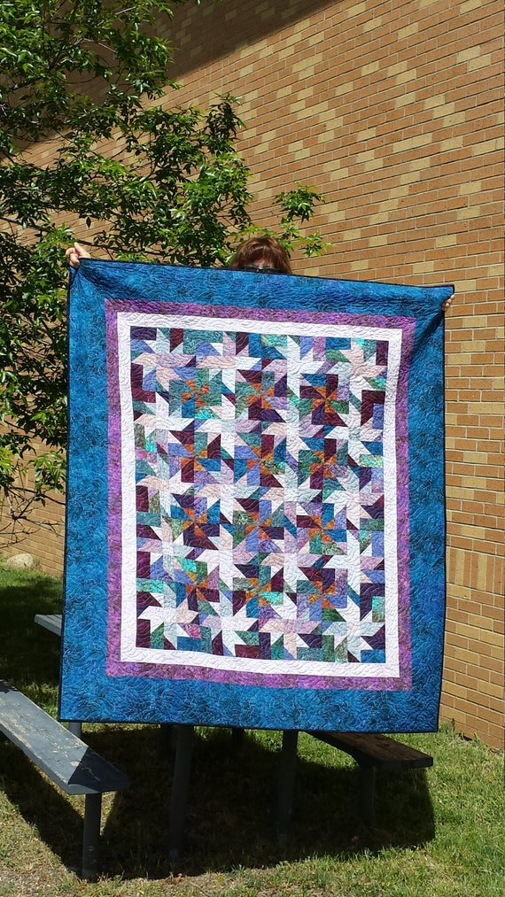 Batik Quilt Kit In A Mix Of Rich Blue And Purple. Pre Cut Fabric Strips Plus Borders And Binding With Pattern For A Lap Size Quilt