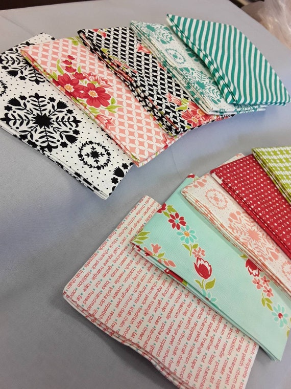 Fat Quarter Bundle of 10 Retro Quilter Cotton Prints From Bonnie and Camille's Handmade Collection From Moda With Crosshatch on White Prints