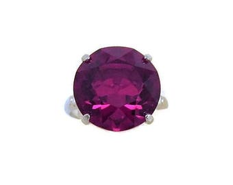 Deep Ruby Red Vargas Ring Sterling Shanks Vintage  Large Solitaire Stone Size 6.5