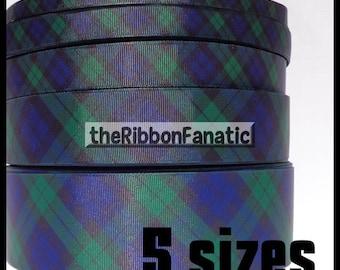 "5 yds or 3yds 3/8"" 5/8"" 7/8"" 1.5"" or 2.25"" Blackwatch Plaid Navy Blue Hunter Green Black School Uniform Grosgrain Ribbon"