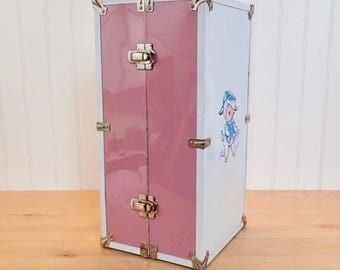 Large Vintage Doll Case Carrier Metal Pink & White Toy Box Lamb Motif Nursery Decor Baby Shower Decor