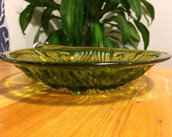 Vintage green glass bowl
