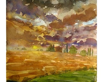 Tuscan clouds landscape original watercolor decor tuscany painting tuscan decor tuscan watercolor original wall art italy art tuscan art