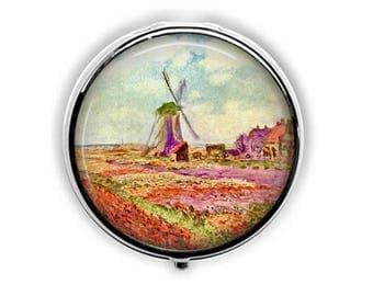 Monet windmill pill box, impressionist painting pill case, fine art stash box, artist gift for her.