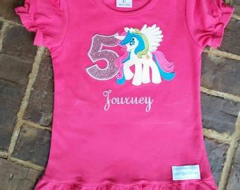 Girls MLP Appliqued Princess Celestia Shirt with Birthday Number and Name